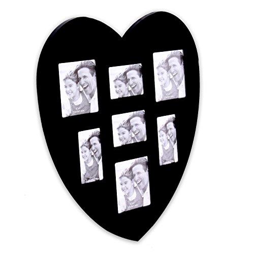 Bilderrahmen aus MDF 30 x 30 cm für 7 Fotos in Herzform Modell HEART in schwarz