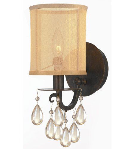 With English Bronze Etruscan Smooth Teardrop Almond Crystal Wrought Iron 6 inch 60 Watts - World of Lighting (Etruscan Bronze 6 Light)