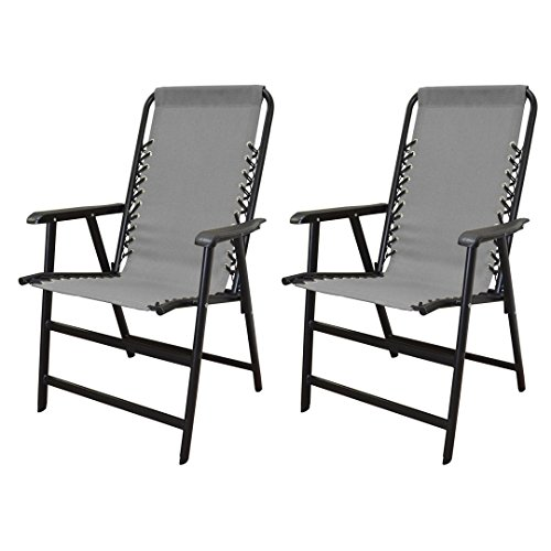 koonlert14 Outdoor Patio Folding Double Bungee System Chair Sturdy Steel Frame Lightweight Comfortable Durable Textaline Fabric Porch Garden Furniture - Set of 2 Gray #1940 (Outdoor Cushions Kohls Patio)