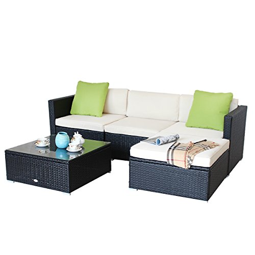 OHYIKA Sectional Furniture PE Wicker Rattan Sofa Set for Outdoor And Indoor (BLACK) price