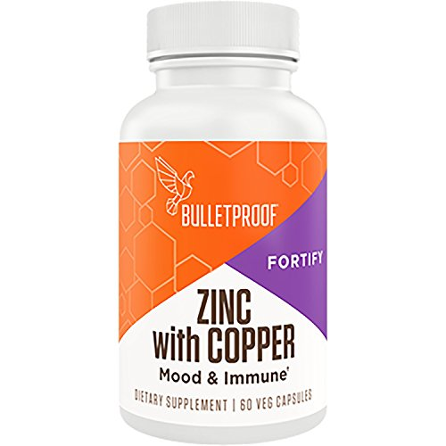 Bulletproof Zinc with Copper, Maintain Immune Function, Healthy Mood, Heart, and Hormone Balance (60 Capsules) (Dave Best Deals Virus)