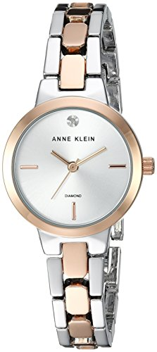 Anne Klein Women's Diamond-Accented Silver-Tone and Rose Gold-Tone Bracelet Watch ()