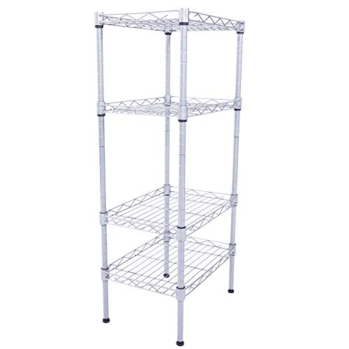 cosway 4 Tier Steel Wire Shelving Storage Organizer Rack for Kitchen Bathroom Balcony Living Room, Silver (Type1)