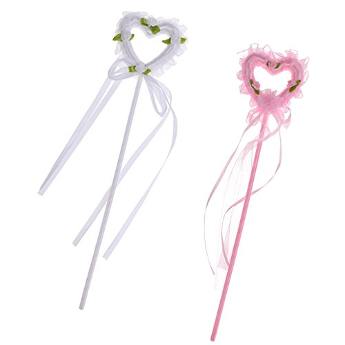 Dovewill 2pcs Lovely Heart Fairy Princess Angel Wand Kids Girl Magical Sceptre Birthday Party Costume Cosplay Fancy Dress - Magical Girl Costume Maker