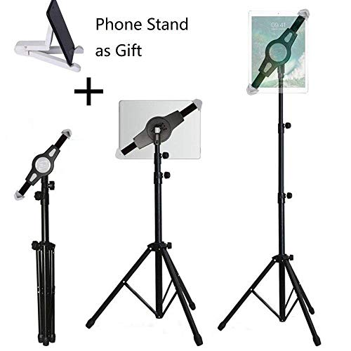 iPad Tripod Stand, LetsRun Height Adjustable Foldable Floor Tablet Tripod Stand for iPad Mini, iPad Air, iPad 1,2,3,4 and All 8-12 Inch Tablets, Carrying Case and Phone Stand as Gifts