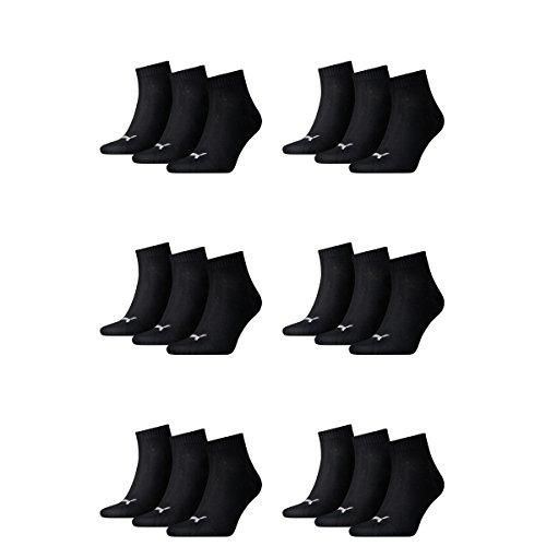 18 pair Puma Sneaker Quarter Socks Unisex Mens & Ladies 200 - black