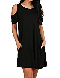 Bestisun Women's Casual Short Sleeve Cold Shoulder Simple Loose Swing Dress