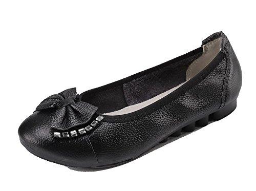 Allhqfashion Pull-on Damesschoenen Met Gesloten Neus En Dichte Hak Stevige Pumps-schoenen Zwart