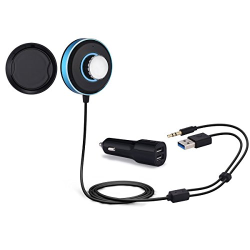 Anbero BT03 Wireless Bluetooth 4.0 Car Kit with Built-in Mic, Dual USB Charger and Magnetic Base