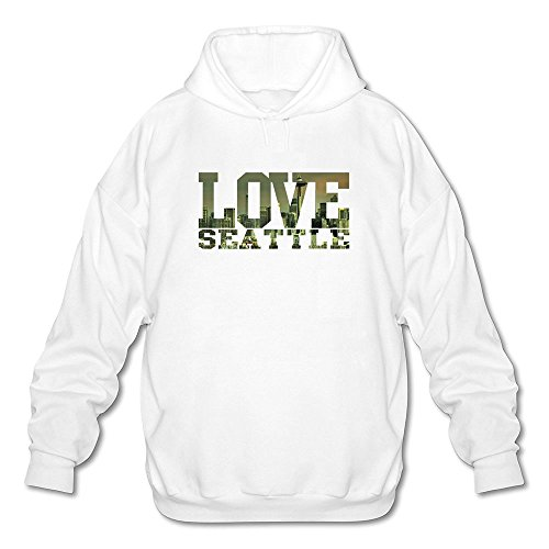 DASY Men's O-neck I Love Seattle Hoodie White XX-Large