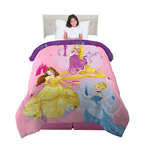 Franco Kids Bedding Super Soft Microfiber Reversible Comforter, Twin/Full Size 72 x 86, Disney Princess
