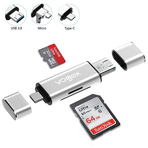 VOGEK SD Card Reader, Aluminum 3-in-1 USB 3.0/USB C/Micro USB Card Reader - SD, Micro SD, SDXC, SDHC, Micro SDHC, Micro SDXC Memory Card Reader for MacBook PC Tablets Smartphones, Silver (Aluminum Card Reader)