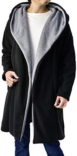 ロング カーディガン メンズ フリース コート 厚手 コーディガン フード付き / B3B…
