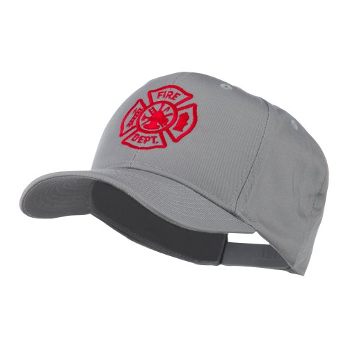 E4hats Fire Dept Maltese Cross Embroidered Cap - Grey OSFM (Fire Embroidery Dept)