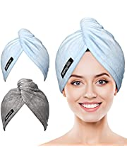Microfiber Hair Towel Wrap POPCHOSE Ultra Absorbent, Fast Drying Hair Turban Soft, No Frizz Hair Wrap Towels for Women Wet Hair, Curly, Longer, Thicker Hair…