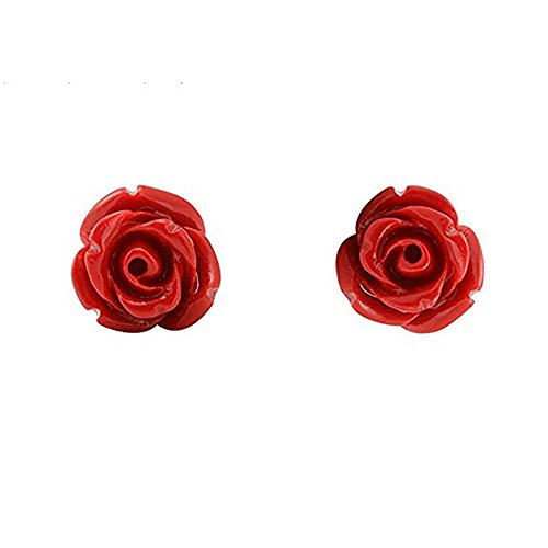 Nuwastone Floral Red Rose Stud earrings Silver Plated 10mm (Earrings Red Rose)