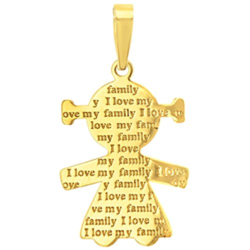 14K Yellow Gold Little Girl Charm with I Love My Family Engraved Script Pendant Figaro Chain Necklace, 20'' by JewelryAmerica (Image #1)