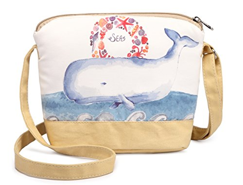 Girls Whale (Crest Design Cute Canvas Crossbody Bag Shoulder Bag Purse for Girl and teenage (Khaki Whale))