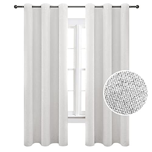 TFJ Linen White Blackout Curtain Panels 52 x 84 Inch Window Draperies, 2 Pieces Thermal Insulated Drapes for Bedroom, Living Room, Kitchen, Cream