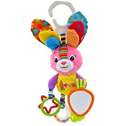 Seprovider Baby Toys, Colorful Rabbit Infant Stroller Toys Washable Squeaker Car Toys, Kids Hanging Toy for Crib with Rattle Ring, Mirror for Self Discovery, Teethers