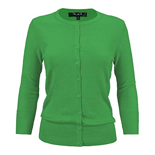 YEMAK Women's 3/4 Sleeve Crewneck Button Down Knit Cardigan Sweater CO079-BRG-S Bright Green from YEMAK