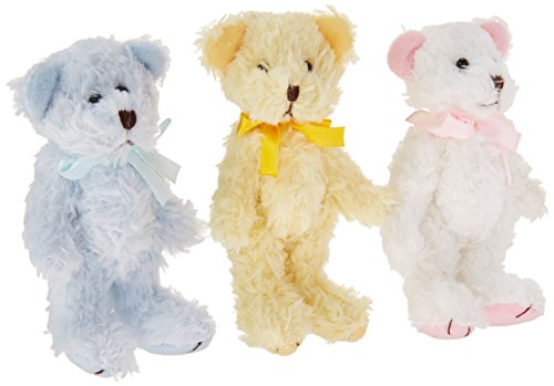 Collectible Teddy Bear Figurine - Craft Outlet Pastel Bears Figurine, 4-Inch, Set of 3