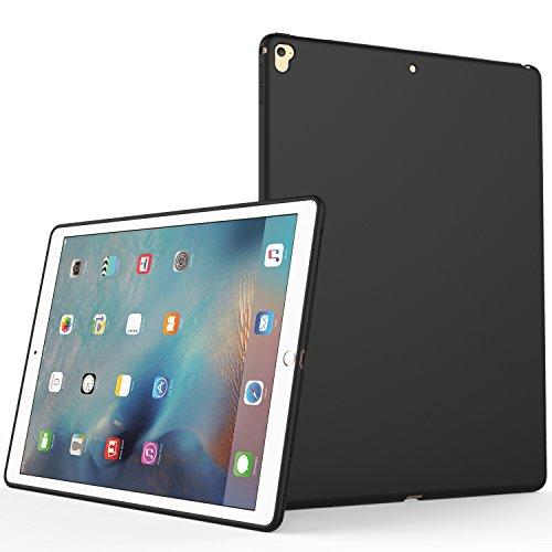 iPad Pro 12.9 2017 Case, SENON Slim Design Matte TPU Rubber Soft Skin Silicone Protective Case Cover for Apple iPad Pro 12.9 (Compatible with 2017 and 2015 Model) Black