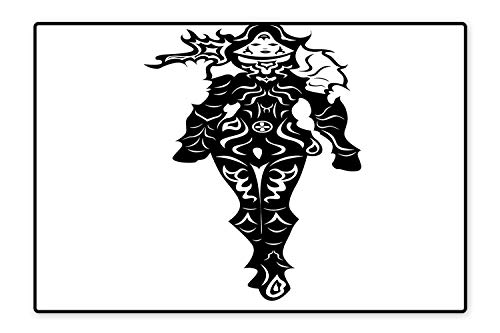 Womens Lady Hunter 8' - Indoor/Outdoor Floor Mat Illustration of a Woman Demon Hunter in Black and White Battle Fantasy War Theme 3 Heroes Easy Clean 6'6