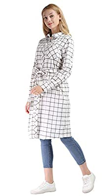 Vero Viva Womens Plaid Drawstring Boyfriend Midi Casual Shirt Dress with Pockets