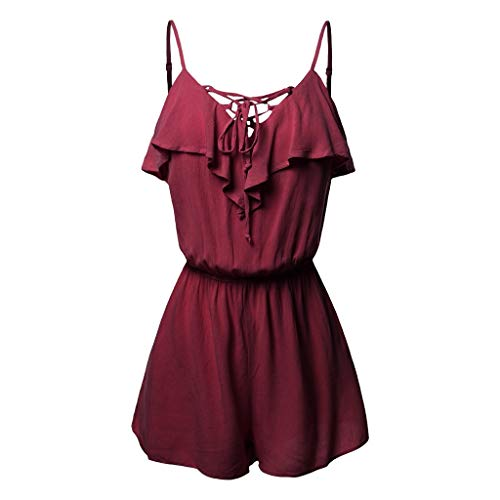 TOTOD Jumpsuits for Women Plus Size Sleeveless Overlap Front Frill Detail Playsuits 2019 Cami Shorts Romper(Red,XXXXXL) ()