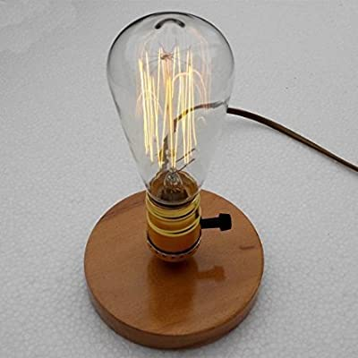 IJ INJUICY Loft Vintage Industrial Wood Table Lights Retro Antique E27 Edison Bulb Wooden Base Desk Accent Lamps