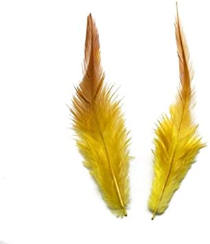100PCS Saddle Hackle Rooster Feathers Colorful Pheasant Neck feathers 6-8inch,Yellow