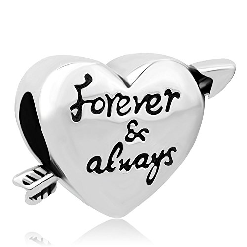 QueenCharms Heart Love Forever & Always Charm Beads For Charm Bracelets