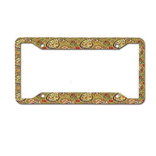- MichelleSmithred Paisley Decor Eastern and Persian Oriental Style Tulip Floral Textile Green Red Cream and Paprika License Plate Frame Aluminum Car tag Cover 4 Holes and Screws for US and Canada