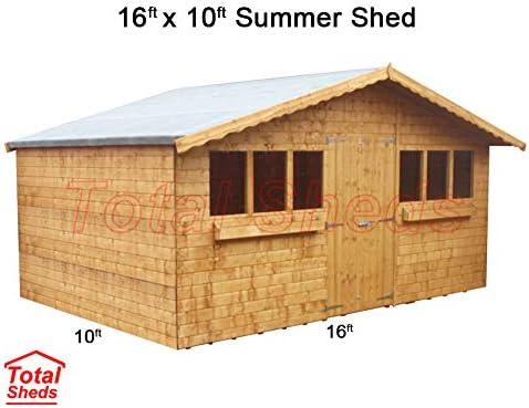 16 ft (4, 8) X 10 ft (3.0 m) jardín cobertizo verano cobertizo caseta de madera total cobertizos: Amazon.es: Jardín