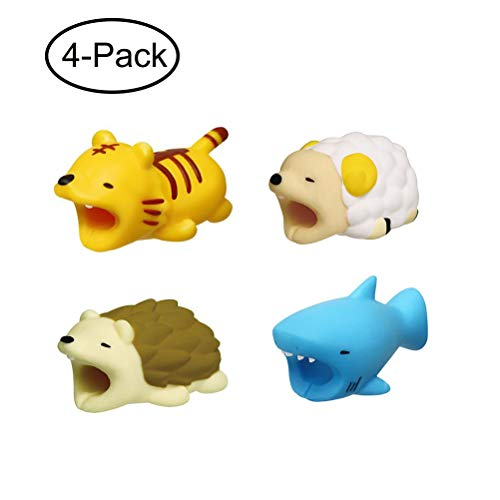 Supfox Compatible Animal Cable Bites for iPhone Cable Cord, Charge Cable Saver and Fixer Charge Cable Saver Chewers Cute Animal Bite Cable Accessory Pack (4 pcs)