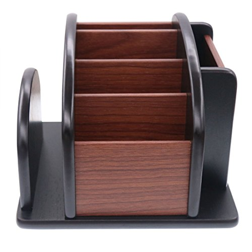 Rotating Office Wooden Desk Organizer, Coideal Large Wood Pen Pencil Stationery Holder Desktop Office Supplies Storage Organizer / Revolving Remote Control Caddy (6 - Table Revolving Book