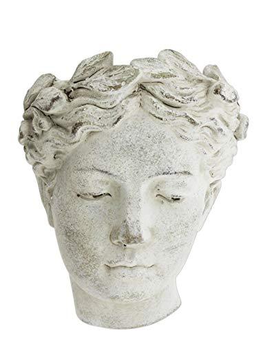 Distinctive Designs Wall-Mounted Greek/Roman Style Female Statue Head Cement Planter, 8