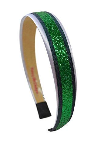 Football Team Fan Glitter and Grosgrain Arch Headband by Funny Girl Designs (NEW YORK - GREEN)
