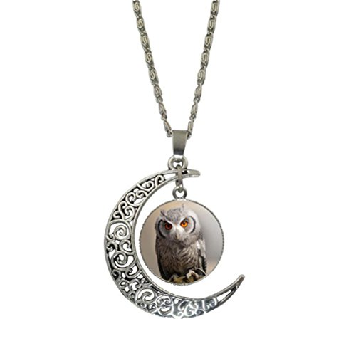 [SWEETIME Vintage Pendant Necklace Hollow Out Carved Moon Owl Charm Necklace Dome - Style 4] (Homemade Kids Nurse Costumes)
