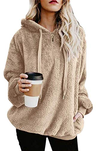 Womens Fuzzy Hooded Casual Oversized Long Sleeve Loose Sweatshirt Pockets Outwear apricot m
