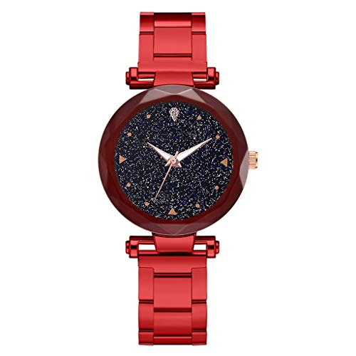 Sodoop Quartz Watches for Women, Luxury Fashion Ladie Quartz Wrist Watch with Steel Belt Star Sky Dial, Casual Simple Dress Watches for Girls