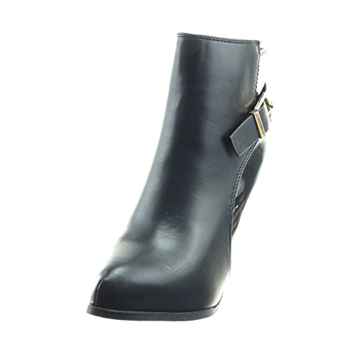 Sopily - Zapatillas de Moda Botines zapatillas de plataforma Caña baja mujer cremallera Hebilla Talón Tacón de aguja alto 11 CM - plantilla Forrada de Piel - Negro