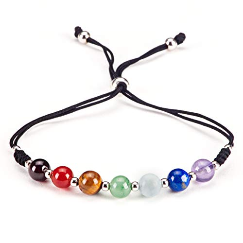 (Cherry Tree Collection Natural Gemstone Chakra Bracelet | Adjustable Size Nylon Cord | 6mm Beads, Silver Spacers | 5.0-6.5