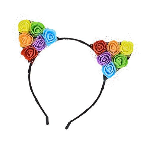 NanaVivi Rainbow Daisy Cat Ears Flowers Headband Birthday Party Travel Pride Sunflower Festivals Hair Hoop (Rainbow)
