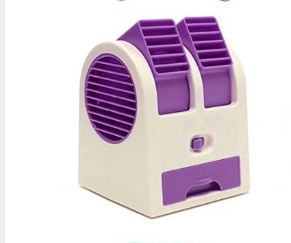 Alytimes Desktop Dual Bladeless Portable Adjustable Angles Scented Air Conditioning Air Cooler USB Electric Mini Fan (Purple)