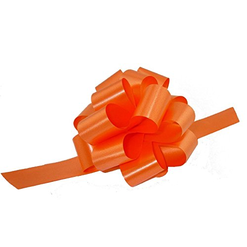Decorative Gift Pull Bows, 5 Wide, Set of 6, Orange, Bows for Gifts, Christmas Presents, Halloween Decorations