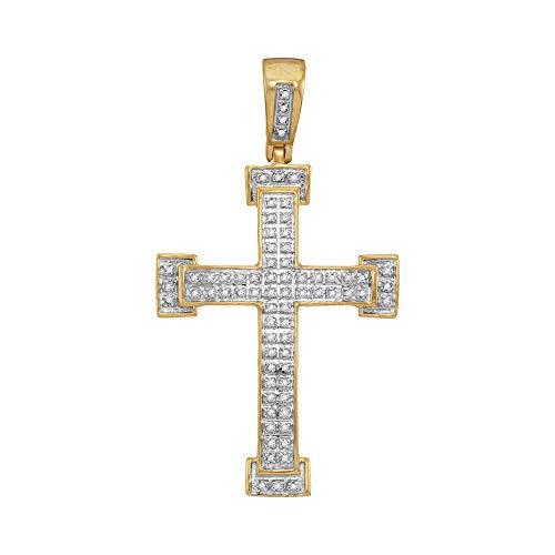 The Diamond Deal 10kt Yellow Gold Mens Round Diamond Roman Cross Religious Charm Pendant 1/5 Cttw