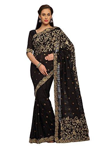 Designersareez Women's Bhagalpuri Silk Embroidered Saree Free Size Black