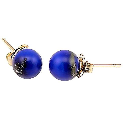 Trustmark 14K Yellow Gold 6mm Natural Lapis Lazuli Ball Stud Earrings ()